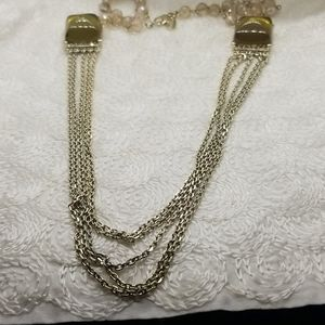 Ann Taylor Green Lucite Crystal Chain Necklace
